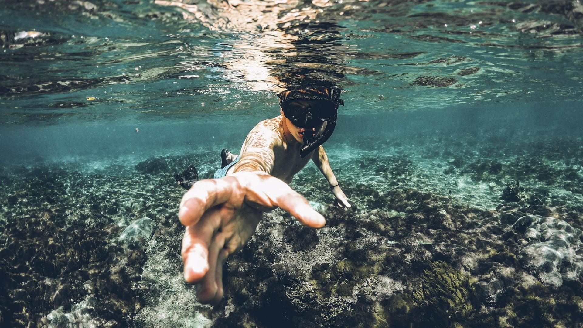 Dykker rækker hånd ud, stock, unsplash